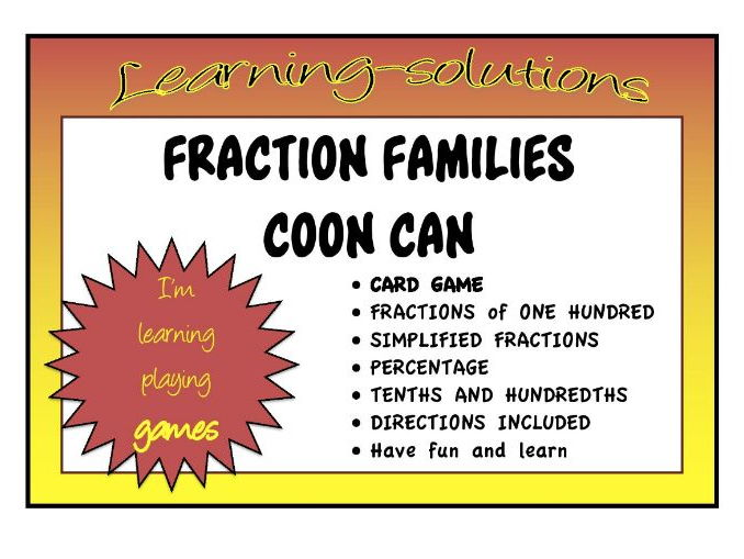 FRACTION FAMILIES COON CAN - Card Game