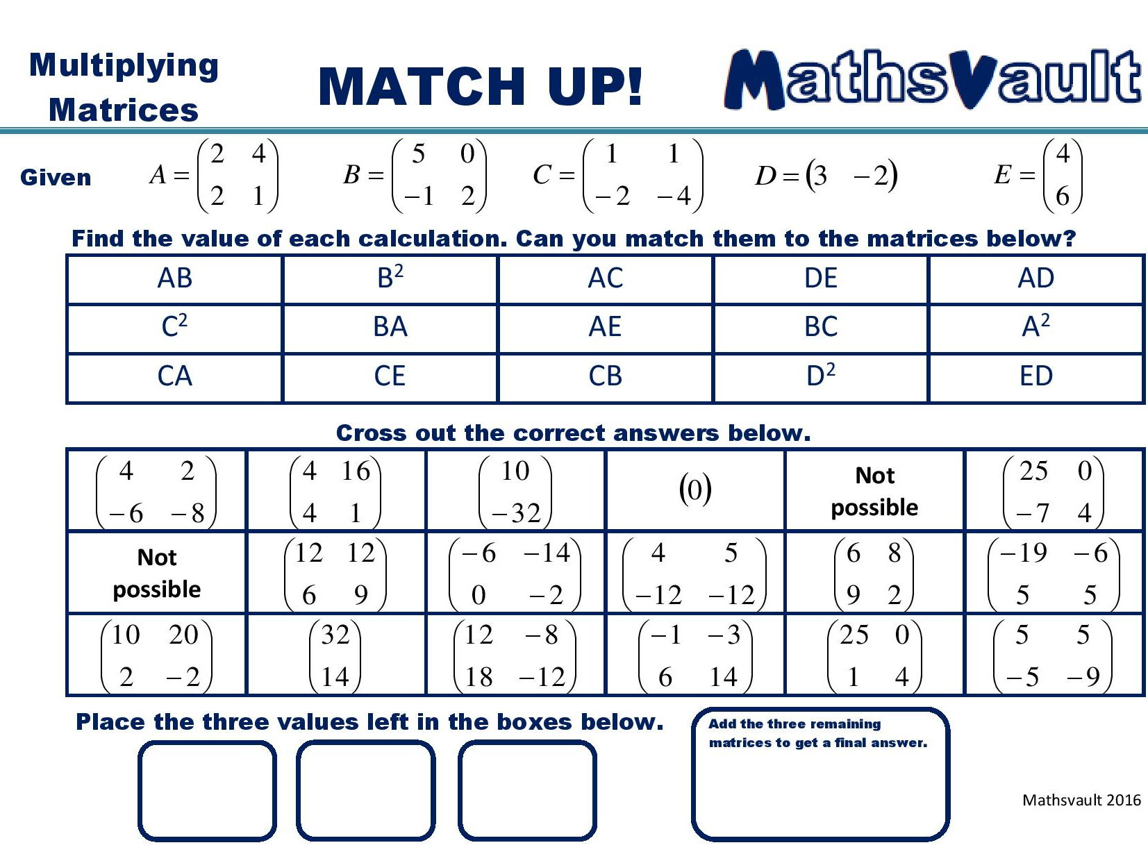 Matrices Match Up Worksheets Bundle