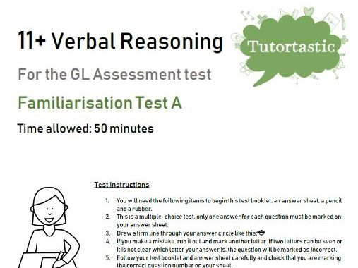 11+ Verbal Reasoning Familiarisation Test A - GL Style