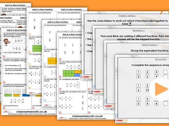 Year 5 Add 3 or More Fractions Spring Block 2 Step 9 Lesson Pack