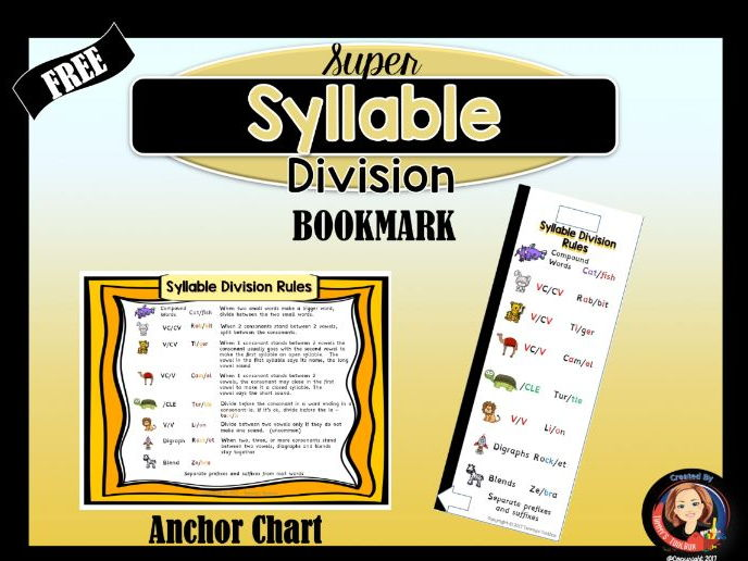 Syllable Division Rules Bookmark and Chart