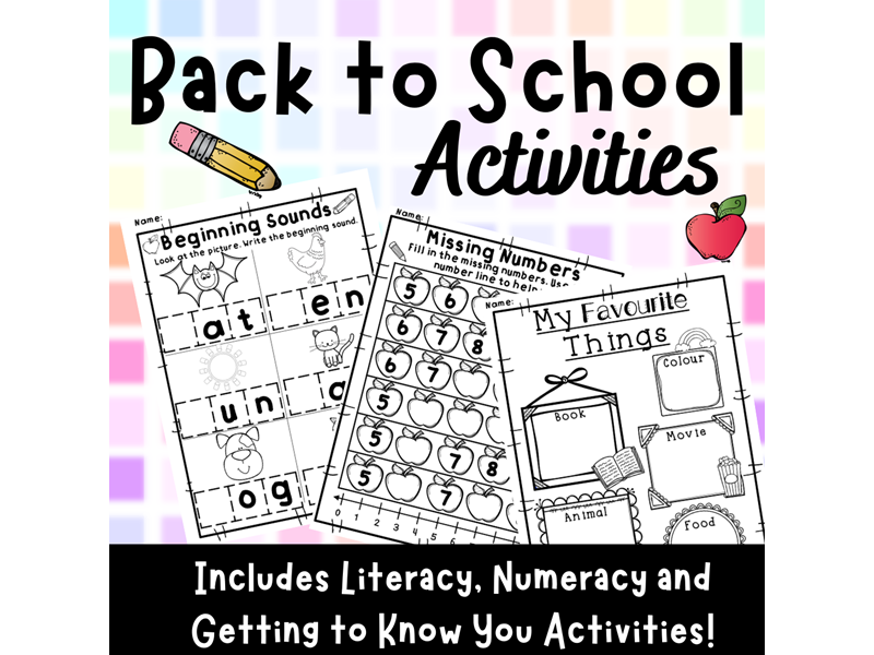 Back to School Activities Literacy Numeracy Get to Know You Worksheets