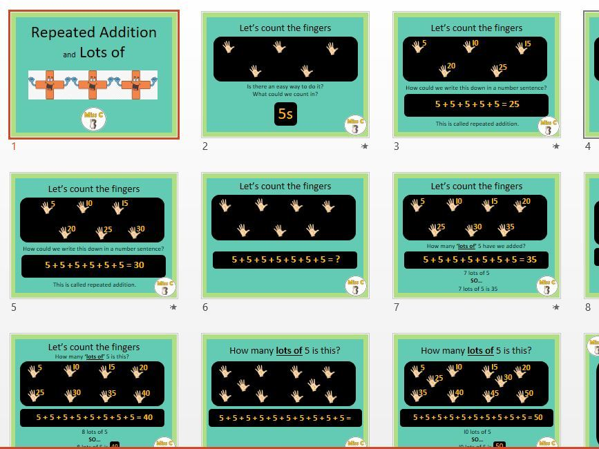 Repeated Addition - multiples of 5
