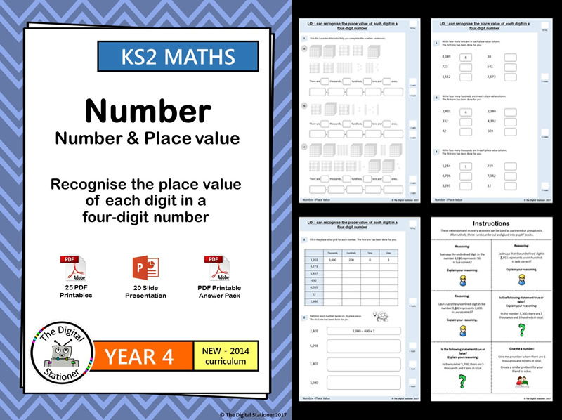 Year 4 – Recognise place value of digit in a 4-digit number –Place Value week 1-4 White Rose MASTERY
