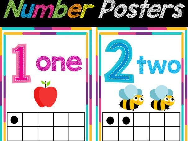 Number (1-20) Posters for Classroom Decor   Number Chart, Back to School