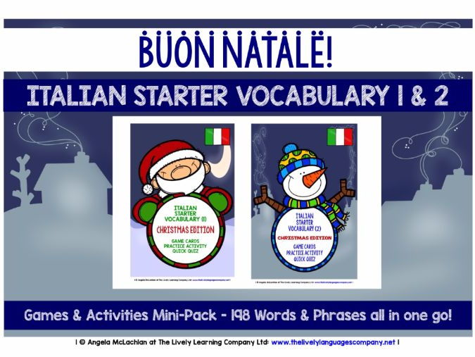 ITALIAN STARTER VOCABULARY (1&2) - CHRISTMAS EDITION - GAMES & ACTIVITIES