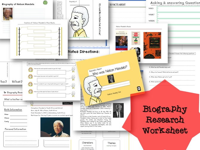 Biography Research Report / Nelson Mandela Biography worksheet