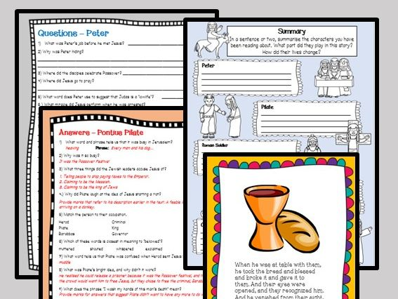 Reading comprehension activities: Easter Story - CHARACTERS OF THE CROSS