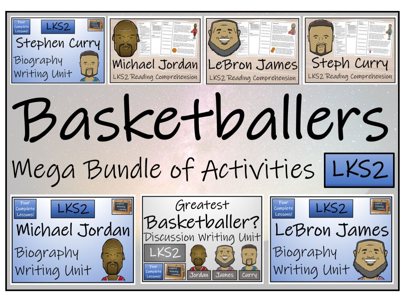 LKS2 Literacy - Great Basketball Players Mega Bundle of Activities
