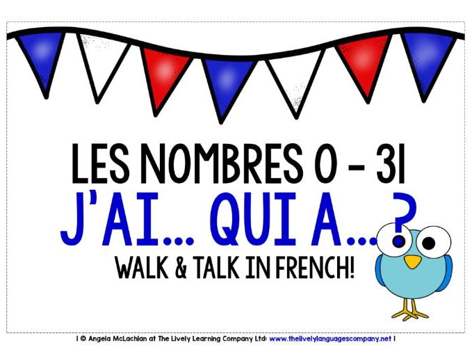 FRENCH NUMBERS 0-31 - I HAVE, WHO HAS?