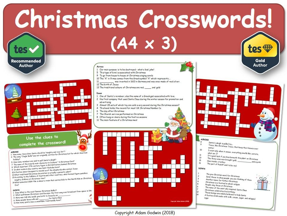 Christmas Crossword Puzzles (x3) [Christmas, Xmas, Crossword]