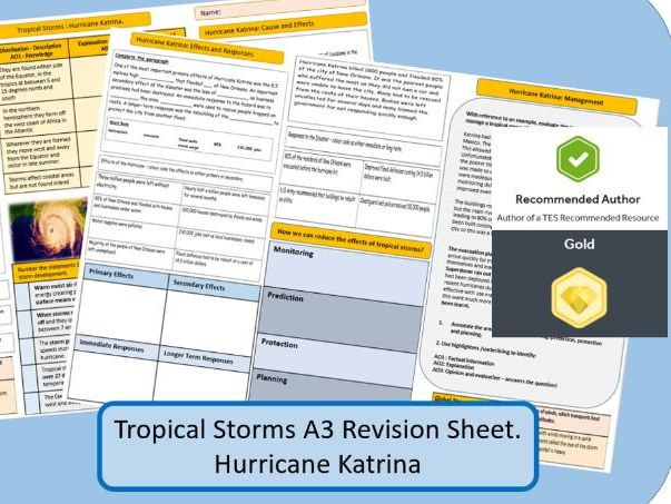 AQA GCSE 9-1 : Hurricane Katrina, Tropical Storms, A3 Double Sided Revision Sheet.