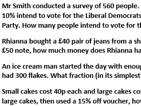 Fractions and Percentages, multi-step problems with answers. (Differentiated)