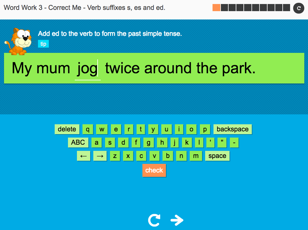 Verb suffixes -s, -es and -ed - Interactive Spelling Exercise - Year 3 Spag