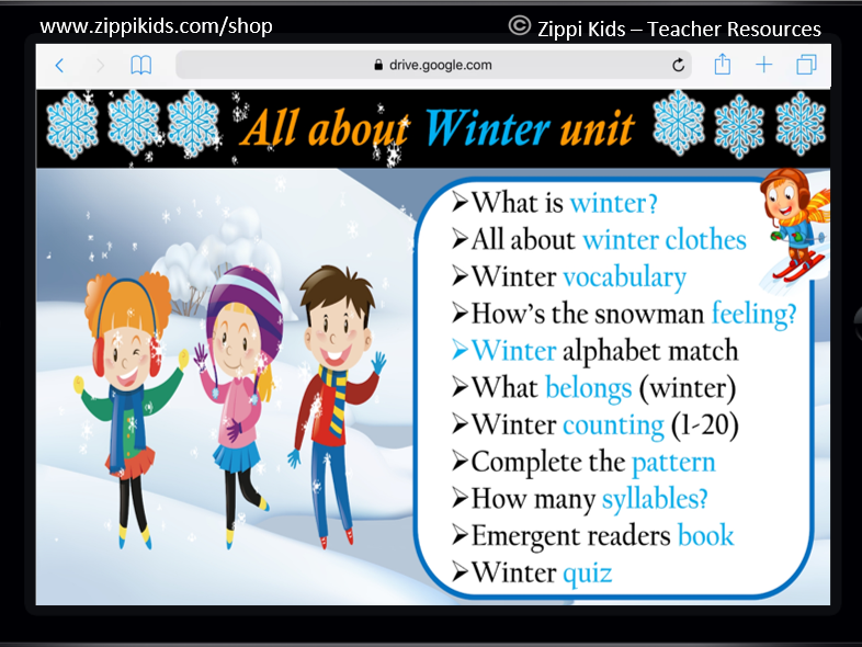 Winter Math and Literacy Unit | January | All About Winter - 70 Google Slides