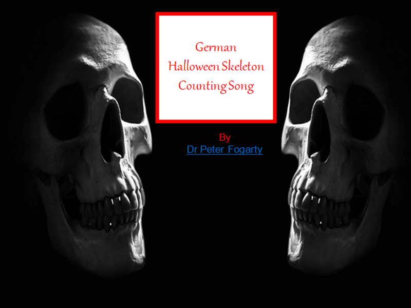 German Halloween Skeleton Counting Song + Writing Sheets + 31 Different Activities For Class.