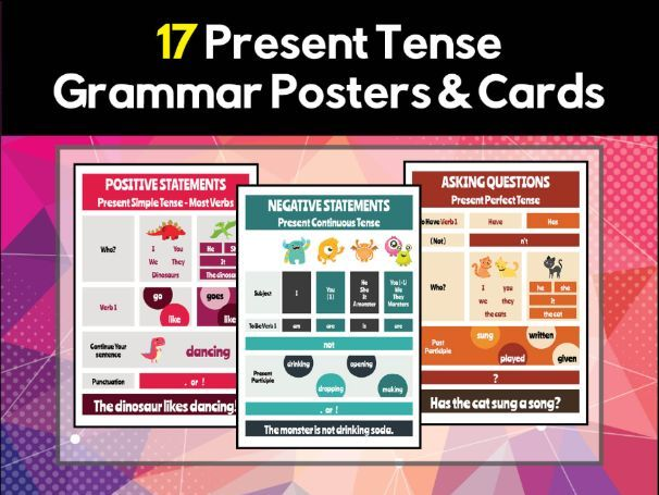 17 Present Tense Grammar Posters & Flash Cards