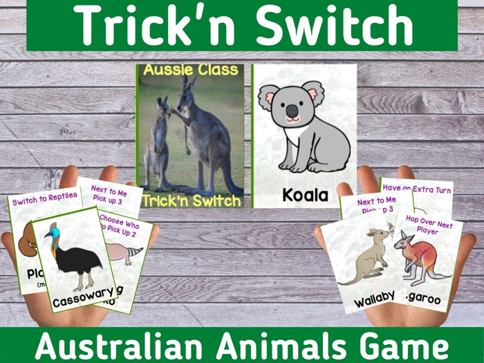 Australian Animal Classification Card Game UNO Style Fun Holiday Activity