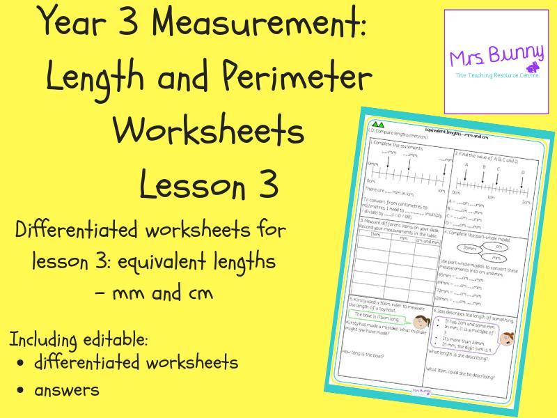 3. Measurement: equivalent lengths – mm and cm worksheets (Y3)