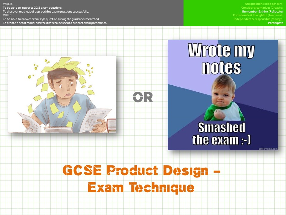 Product Design GCSE Exam technique