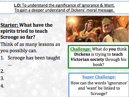 Christmas Carol Stave 3 - Importance of Ignorance and Want - Lesson and work sheet