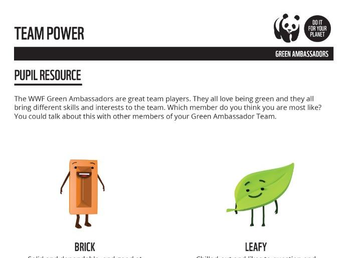Green Ambassador Team Power Taster Resource- Pupil