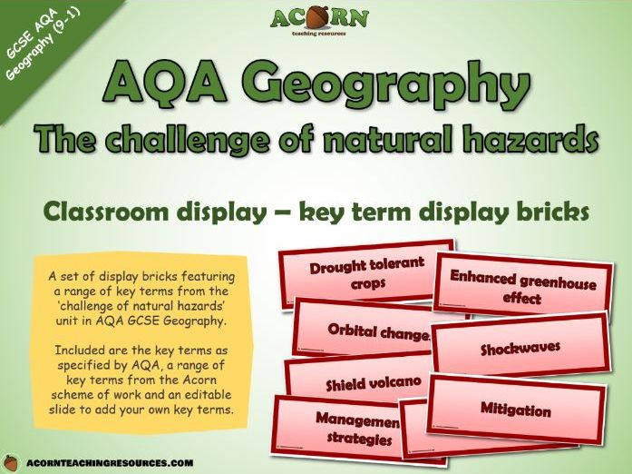 Geography - key term bricks - The challenge of natural hazards