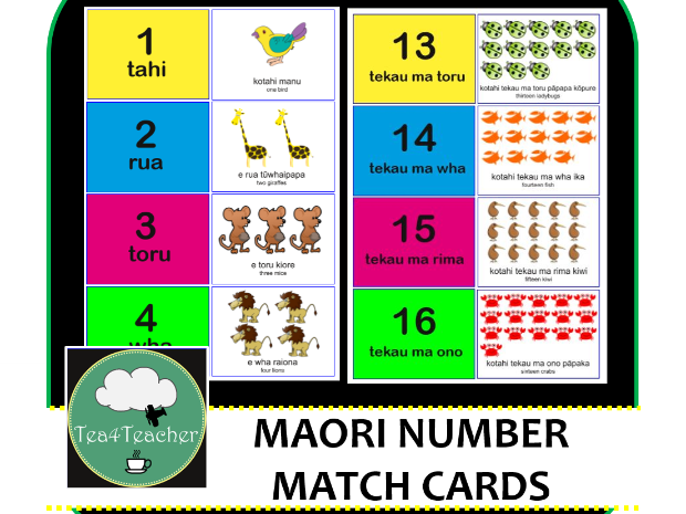 Maori Language Number Match Animals - Numbers 1-20 with Animal Names for Kids