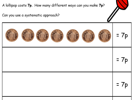 Making the same totals using different coins - 2 Problem Solving Worksheets