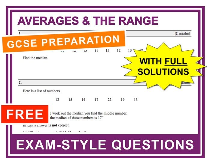 GCSE 9-1 Exam Question Practice (Averages + The Range)