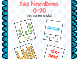 Les Cartes à clip Les nombres 0-20/French Number Clip cards 0-20