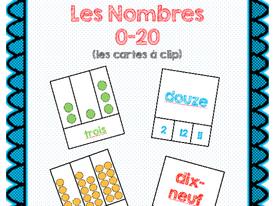 Les Cartes à clip Les nombres 0-20/French Number Clip cards 0-20