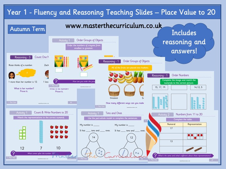 Year 1 – Editable Teaching Slides - Place Value to 20 - White Rose Style
