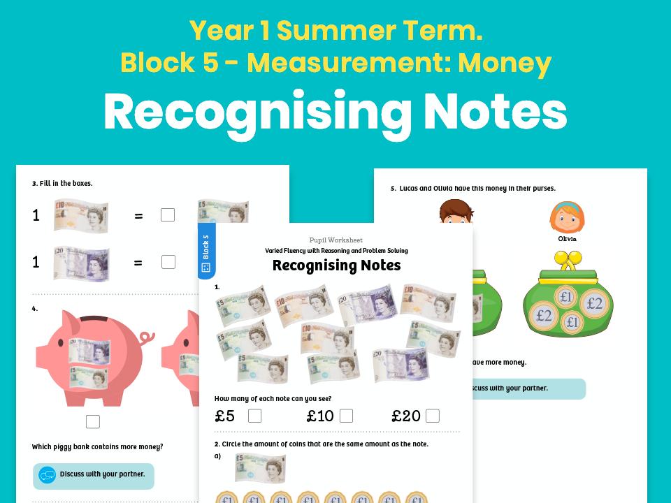Y1 Summer Term – Block 5: Measurement: Money – Recognising Notes