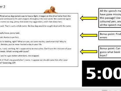 Add in the speech marks to Marley & Me extract  starter/form time literacy.