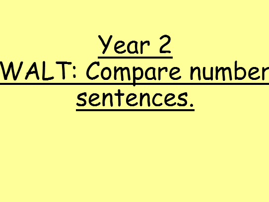 Compare Number Sentences - Year 2