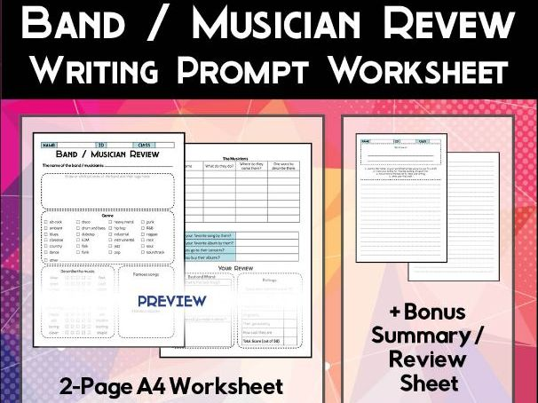 Band / Musician Review Worksheet