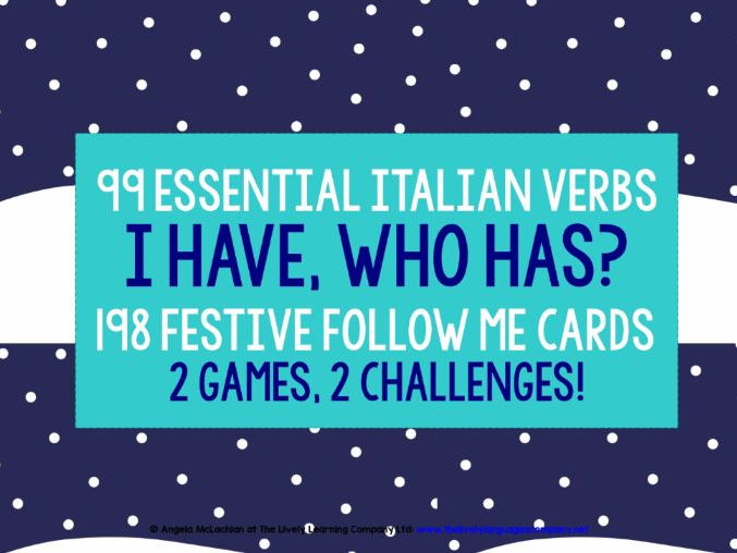 ITALIAN VERBS CHRISTMAS FOLLOW ME GAMES