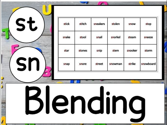 Blending St and Sn Worksheets KS1