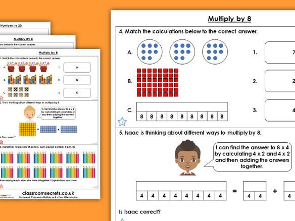 Year 3 Multiply by 8 Autumn Block 3 Maths Homework Extension