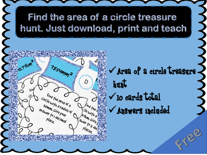 Find the area of a circle treasure hunt