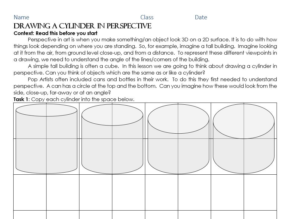 Perspective: drawing a cylinder