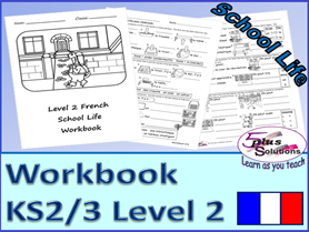SIX SHEET PRIMARY KS2/3 FRENCH COPIABLE WORKBOOK:Class,school places/day,time/half hr,times of day.