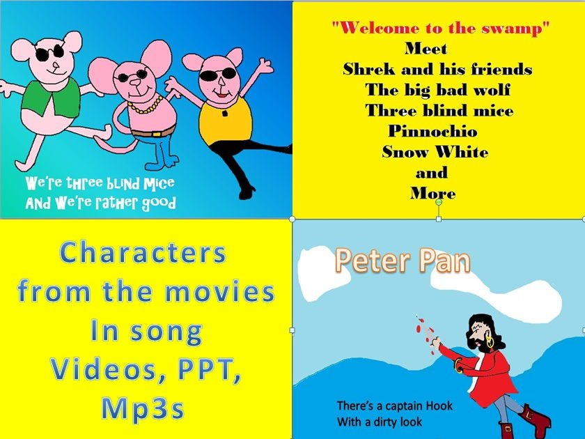 Characters from the movies in song