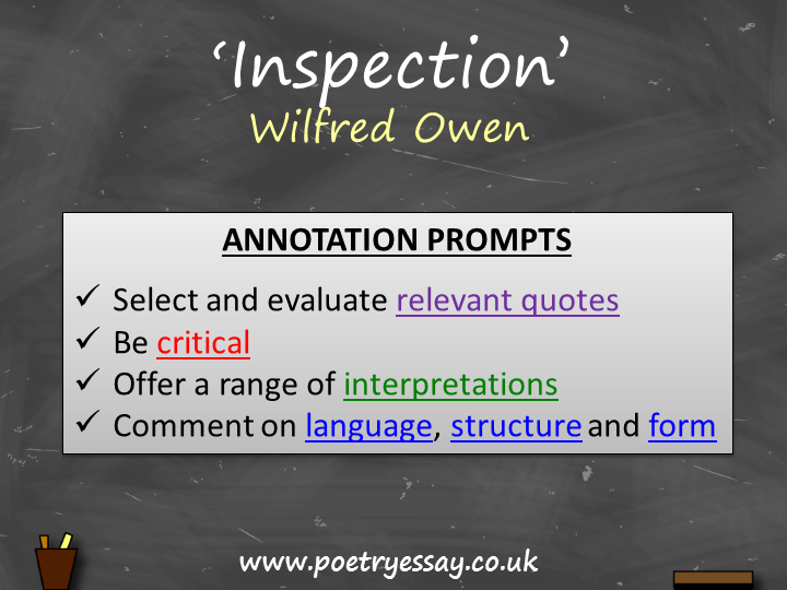 Wilfred Owen – 'Inspection' – Annotation / Planning Table / Questions / Booklet