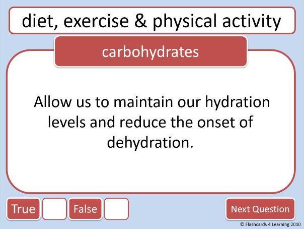 GCSE PE: Diet & Nutrition - True or False?