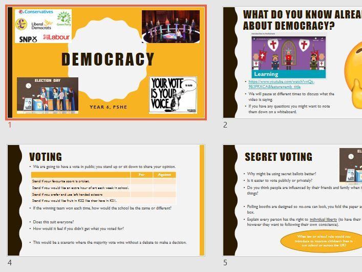 Democracy - Year 6 PSHE 2020 curriculum