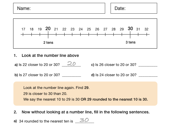 KS2 Rounding to the Nearest 10 and 100 (Worksheet and Solutions)