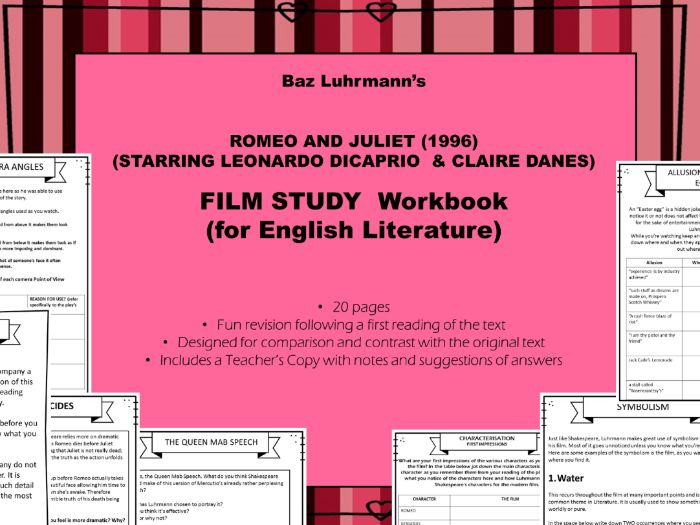 Romeo & Juliet Film Study WORKBOOK for Baz Luhrmann's 1996 film (Leonardo DiCaprio). LIT REVISION