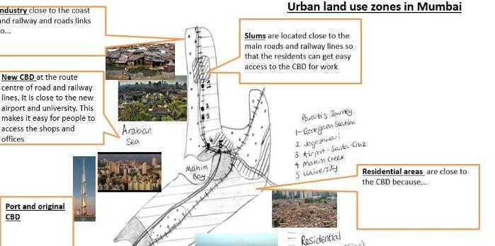 GCSE 9-1; Global development - case study EDC LIDC city - Mumbai: rapid urban growth story telling